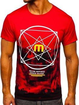 T-shirt męski z nadrukiem czerwony Denley 10887
