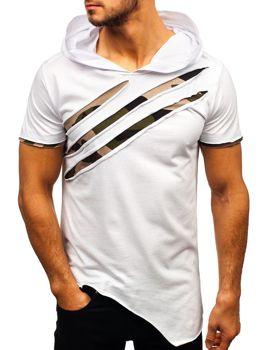 T-shirt męski z nadrukiem i  kapturem biały Bolf 1185