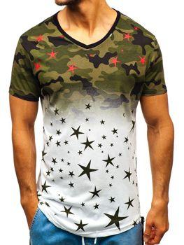 T-shirt męski z nadrukiem moro biało-zielony Denley 324