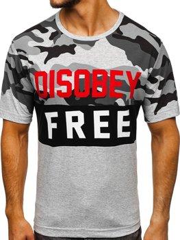 T-shirt męski z nadrukiem moro-szary Denley 6308