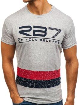 T-shirt męski z nadrukiem szary Denley 0008