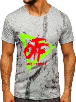 T-shirt męski z nadrukiem szary Denley KS1943T