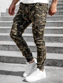 Zielone spodnie joggery bojówki męskie Denley KA2122