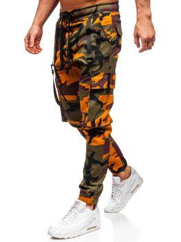 Zielono-pomarańczowe spodnie joggery bojówki męskie Denley 11105