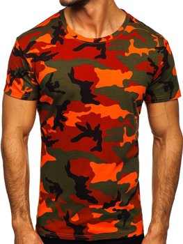 Zielono-pomarańczowy t-shirt męski moro Denley S807