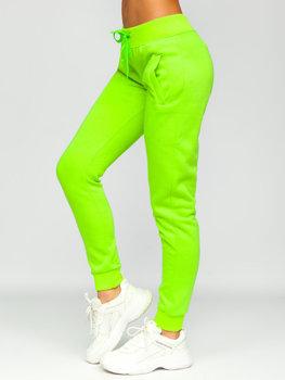 Zielony-neon spodnie dresowe damskie Denley CK-01