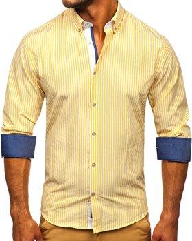 Żółta koszula męska w paski z długim rękawem Bolf 20704