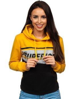 Żółta z nadrukiem bluza damska z kapturem Denley KSW2007
