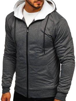 Bluza męska z kapturem rozpinana grafitowa Denley DD03-1