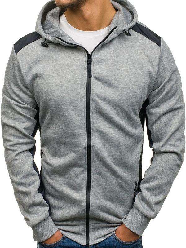 Bluza męska z kapturem z nadrukiem szara Denley 2851