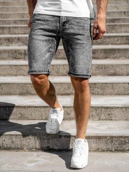 Czarne jeansowe krótkie spodenki męskie Denley KG3753