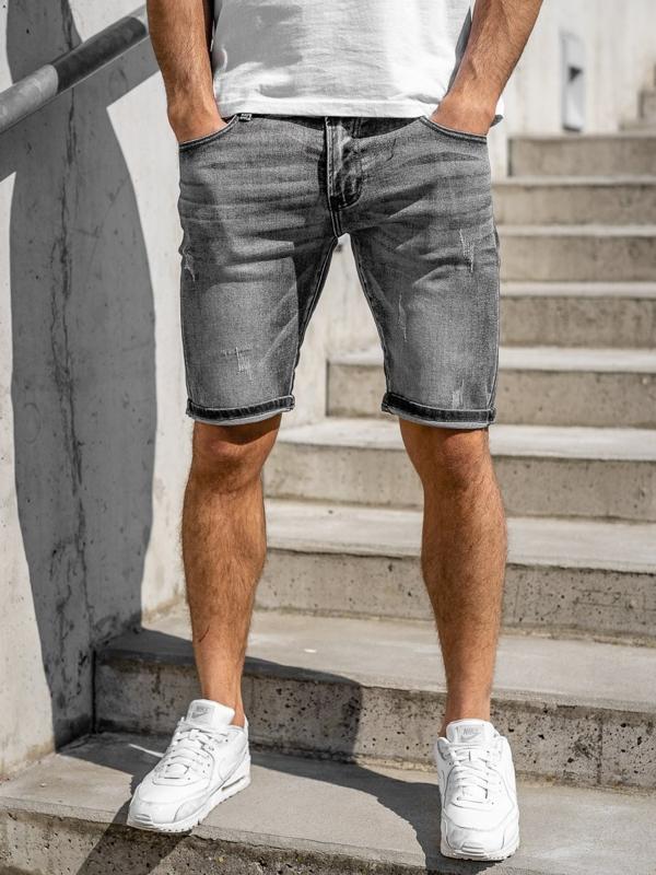 Czarne jeansowe krótkie spodenki męskie Denley KG3753A