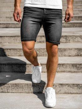 Czarne jeansowe krótkie spodenki męskie Denley KK1072