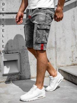 Czarne krótkie spodenki jeansowe bojówki męskie Denley HY657