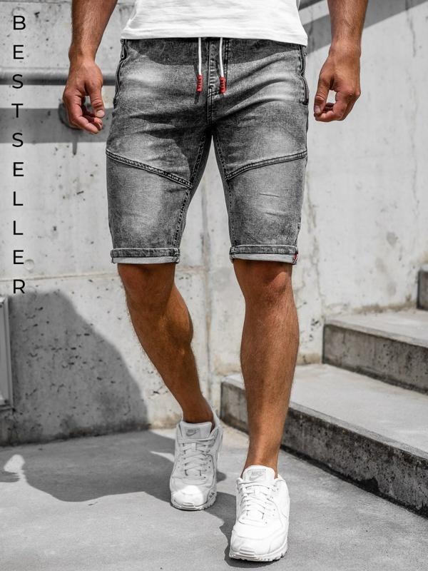 Czarne krótkie spodenki jeansowe męskie Denley HY651
