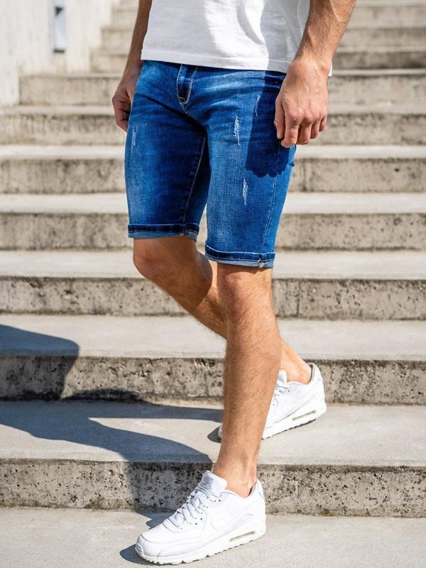 Granatowe jeansowe krótkie spodenki męskie Denley KG3772