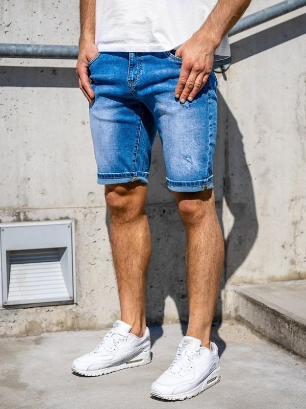 Granatowe jeansowe krótkie spodenki męskie Denley KG3818