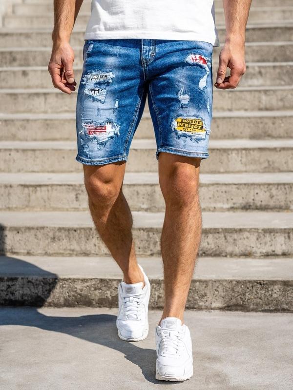 Granatowe jeansowe krótkie spodenki męskie Denley KG3873