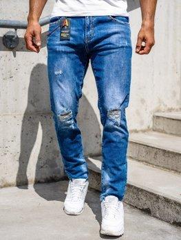 Granatowe jeansowe spodnie męskie slim fit Denley 85005S0