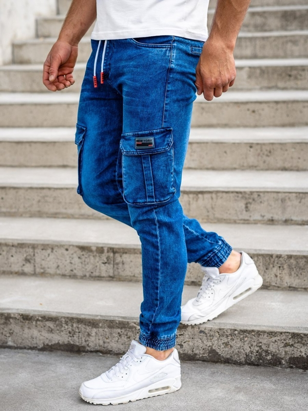 Granatowe spodnie jeansowe joggery bojówki męskie Denley HY688