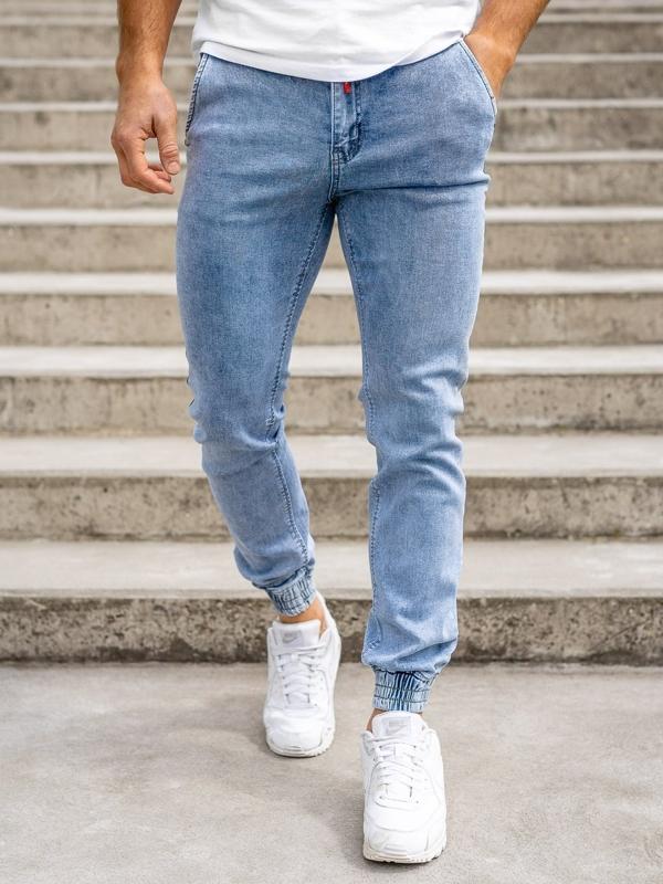 Granatowe spodnie jeansowe joggery męskie Denley KA1766
