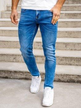 Granatowe spodnie jeansowe męskie skinny fit Denley KX399