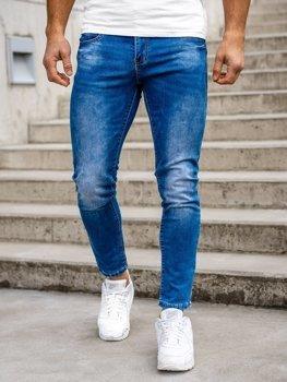 Granatowe spodnie jeansowe męskie skinny fit Denley KX507