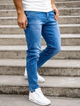 Granatowe spodnie jeansowe męskie skinny fit Denley KX536