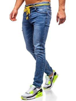 Granatowe spodnie jeansowe męskie skinny fit Denley KX565