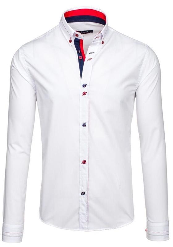 Koszula męska elegancka z długim rękawem biała Bolf 6933