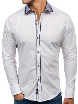 Koszula męska elegancka z długim rękawem biała Bolf 6940