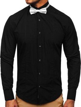 Koszula męska elegancka z długim rękawem czarna Bolf 4702-A muszka+spinki