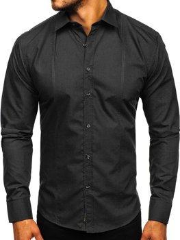 Koszula męska elegancka z długim rękawem czarna Bolf 4705-G