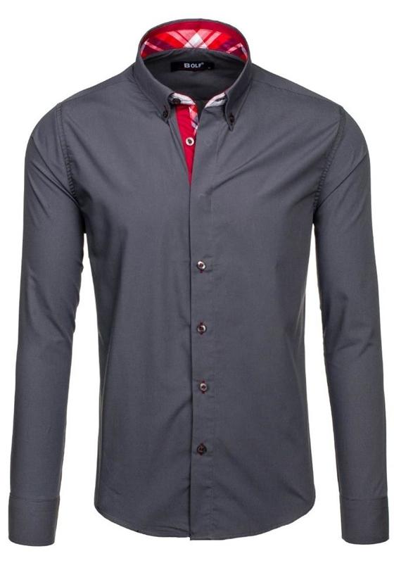 Koszula męska elegancka z długim rękawem grafitowa Bolf 6930