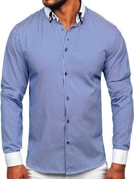 Koszula męska elegancka z długim rękawem niebieska Bolf 0909