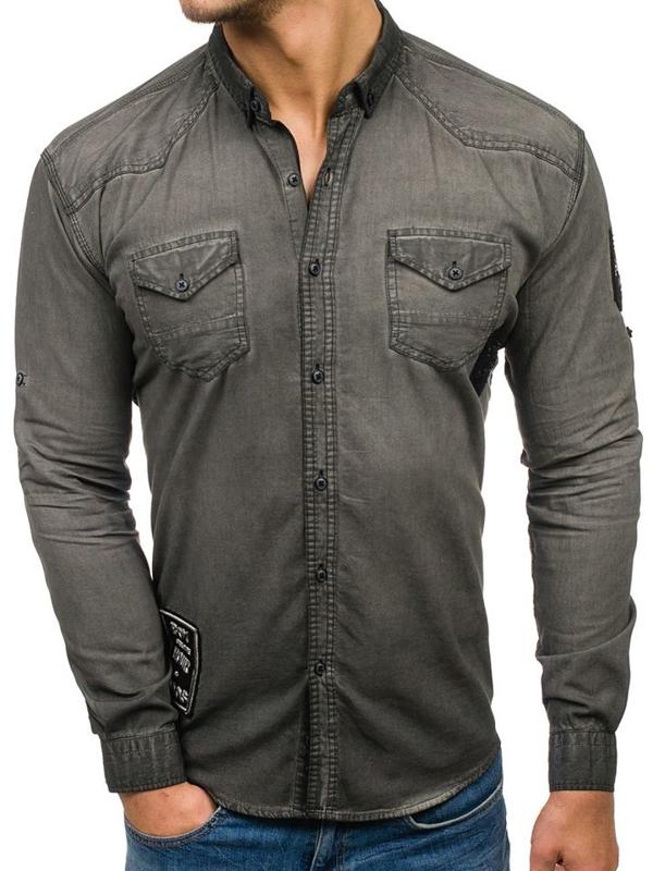 Koszula męska jeansowa z długim rękawem grafitowa Denley 2053