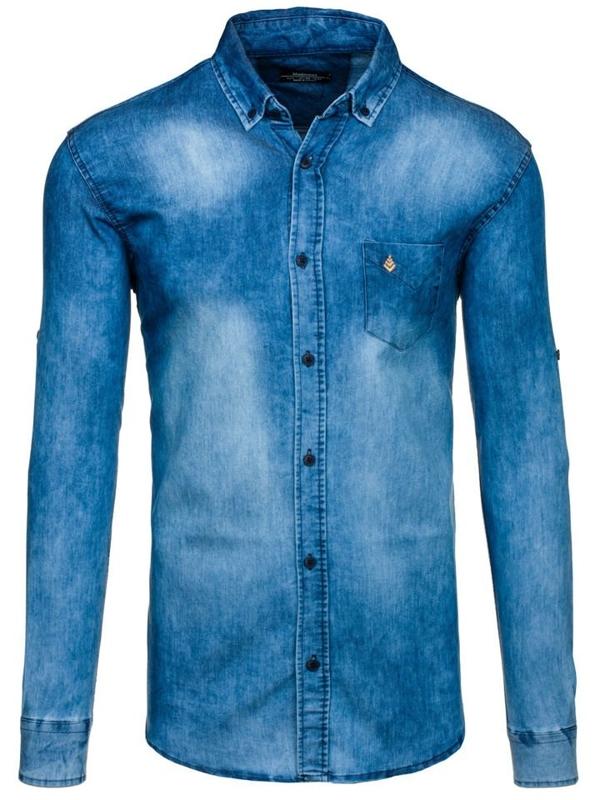 Koszula męska jeansowa z długim rękawem niebieska Denley 0493-1