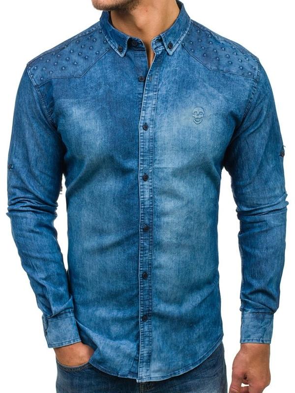 Koszula męska jeansowa z długim rękawem niebieska Denley 0540