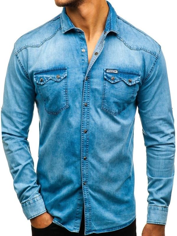 Koszula męska jeansowa z długim rękawem niebieska Denley 2641