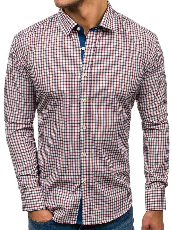 Koszula męska w kratkę z długim rękawem granatowo-czerwona Denley GET6