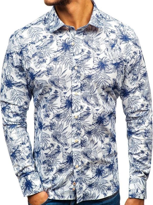 Koszula męska we wzory z długim rękawem biało-granatowa 301G66