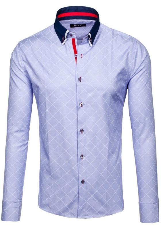 Koszula męska we wzory z długim rękawem błękitna Bolf 6931