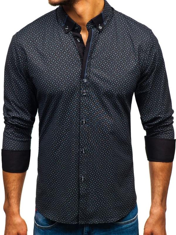 Koszula męska we wzory z długim rękawem czarna Bolf 8844E