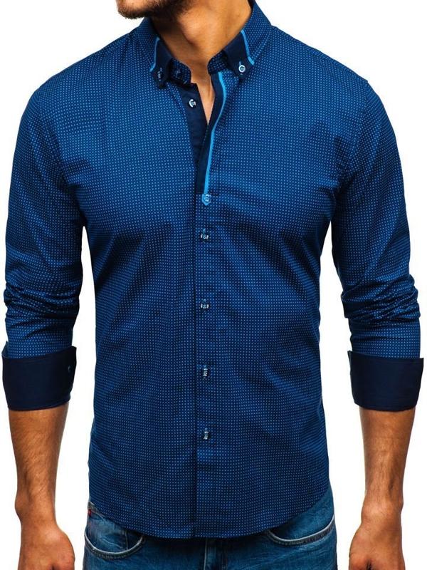 Koszula męska we wzory z długim rękawem granatowo-niebieska Bolf 8844F