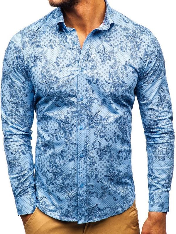 Koszula męska we wzory z długim rękawem niebieska Denley 200G63