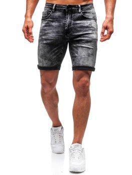 Krótkie spodenki jeansowe męskie czarne Denley T571