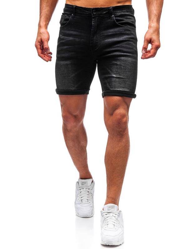 Krótkie spodenki jeansowe męskie czarne Denley T572