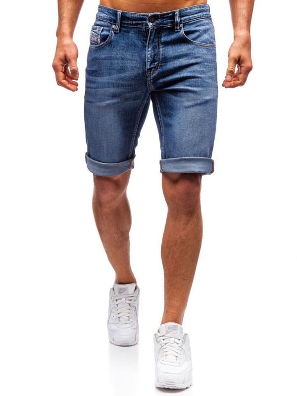 Krótkie spodenki jeansowe męskie granatowe Denley 7784