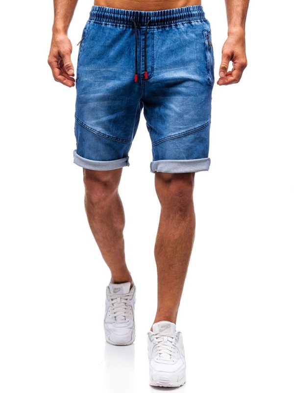 Krótkie spodenki jeansowe męskie granatowe Denley HY186