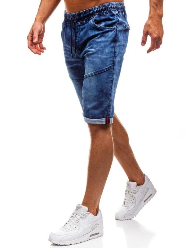 Krótkie spodenki jeansowe męskie granatowe Denley HY251